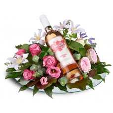 Bloemstuk met rose wijn. VT202. Prijs: SRD 494,-